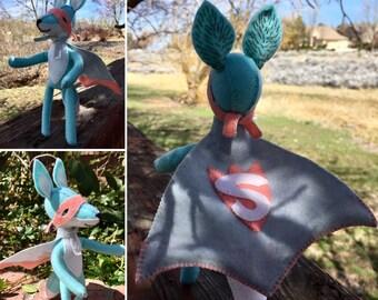 Super Fox--Blue Fox Toy--Poseable Fox Toy--Cynthia Treen Fox Design--Wooley Cute Fox Toy--woodland fox toy--handmade fox--collectible fox