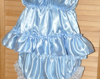 Baby blue pretty little sissy bra / camisole top with matching satin panties, Sissy Lingerie