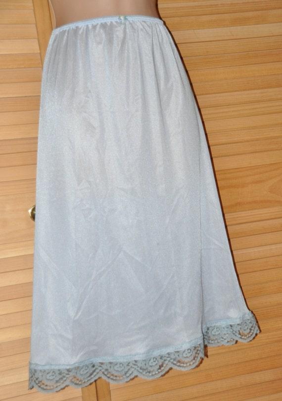 Lovely silky soft baby blue nylon waist slip, long length lacy feminine hem, lovely lingerie, Sissy Lingerie
