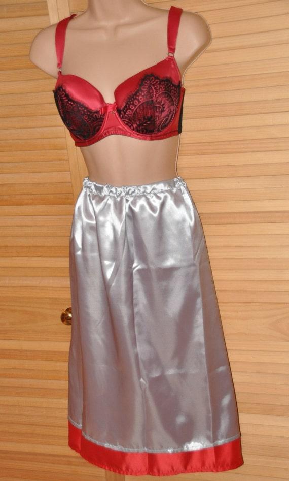 SLIP 11X - Silver & red double layered silky satin slip / petticoat, Sissy Lingerie