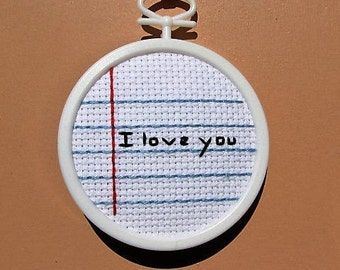 Handmade Notebook I Love You Cross Stitch Wall Art - Ornament