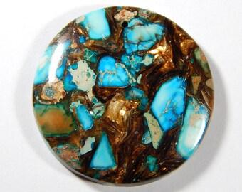 1 Pc - 40x40x6mm Sea Sediment Jasper And Pyrite Pendant Bead - Gemstone Pendant - Focal Bead - Gemstone Beads - Jewelry Supplies