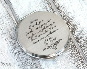 Personalized engraved pocket mirror | compact mirror | wedding gift | mother of the bride gift | birthday, I am who I am