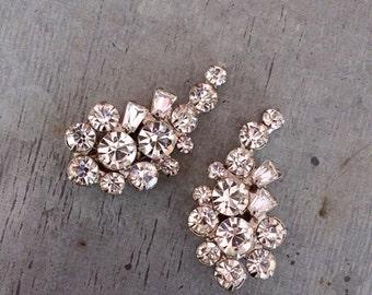 Vintage dress clips, dress clips, rhinestone dress clips, crystal dress clips, vintage jewellery, Art Deco style clips