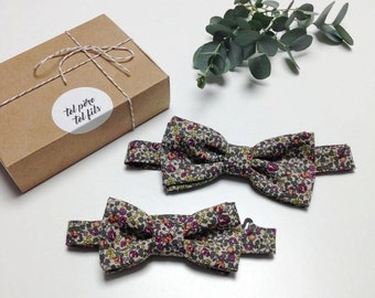 bowties adult child, liberty BowTie, BowTie flowers, flowered tie, father and son, father his bowtie