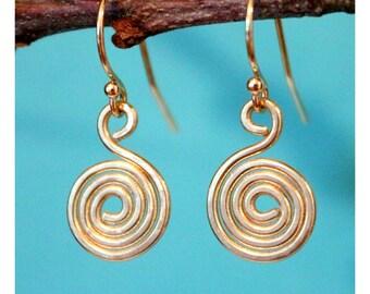 14K Solid Gold Earrings, 14K Yellow Gold Swirl Earrings, Gold Wire Earrings, Gold Spiral Earrings, Gold Earrings, Gold Swirl Earrings,
