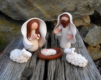 Miniature Nativity Set, Modern Nativity, Polymer Clay Manger, Unique Nativity, OOAK Clay Nativity, Jesus, Mary & Joseph White Nativity