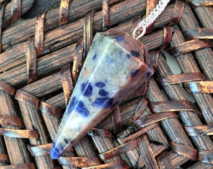 Blue Sodalite Crystal Pendulum infused w/ Reiki Perfect Valentine's Gift for Him