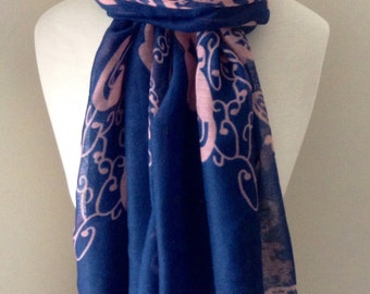 Blue & pink viole scarf with oriental patterns - your choice of long or loop style for spring and fall