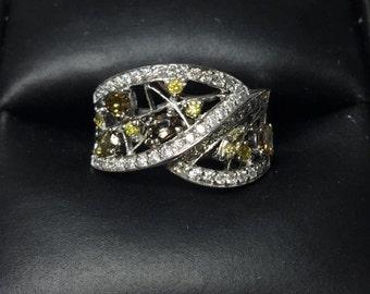 natural colored diamond ring, white gold diamond ring, fashion jewelry