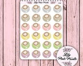 24 Coffee Love Stickers Half Sheet C-152 - Perfect for Erin Condren Life Planners / Journals / Stickers.