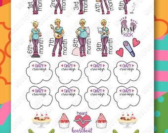 Pregnancy Planner Sticker Kit for your Erin Condren Life Planner, Happy Planner, or any monthly planner!