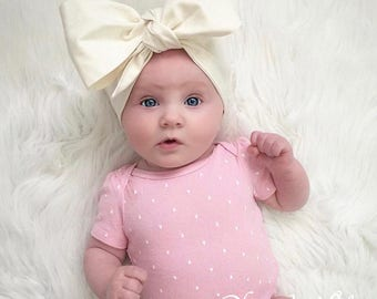 Ivory Headwraps, Newborn Headwrap, Fabric Headwraps, Cream Headwrap, Toddler Headwrap, White Headwrap, Pink Headwrap, Girls Headwrap
