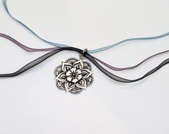 Flower Mandala Pendant/ Sterling Silver Mandala Necklace/ Sacred Geometry Pendant/ Bohemian Jewelry/ Mandala Pendant/ Psychedelic Jewelry