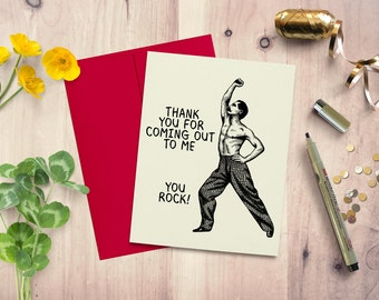 Coming out card, greeting card, LGBT card, alternative greeting card, thank you card, friendship card, handmade card