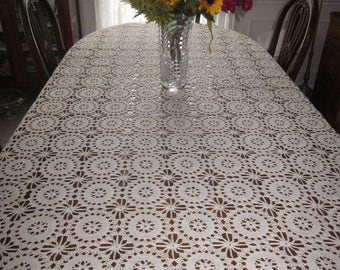 Vintage Hand Crocheted Tablecloth~Off-White~Circle Medallion Pattern~EUC~Cotton~Versatile~86 x 60~Hand Made Table Cloth~Lacy Crochet~Shabby