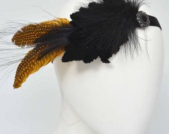 "Flapper Headband, Feathers, ""Charleston"", 20ies style, 30ies, headpiece, great gatsby, vintage style"