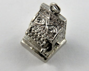 Mechanical Cash Register with Movable Checkout Arm Sterling Silver Charm or Pendant.