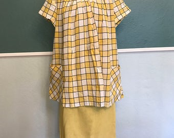 1950's Yellow and White Checker Linen Maternity Set S