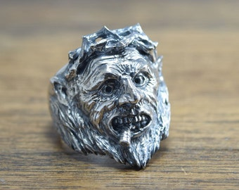 Angry man Ring,delicate hand carving,925,Solid Sterling Silver