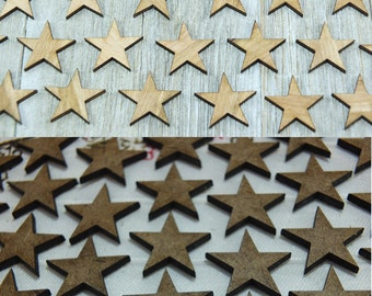 Laser-cut wooden stars- crafting supplies wooden stars 0,75/1/1,25/1,5/1,75/2