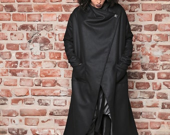 Winter Coat/ Long Coat/ Black Cape/ Long Wool Coat/ Asymmetric Coat/ Futuristic Clothing/ Black Winter Coat/ Winter Jacket/ Black Jacket