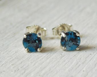 Genuine London Blue Topaz Sterling Silver Earrings, 5mm Small Stud Earrings, November Birthstone