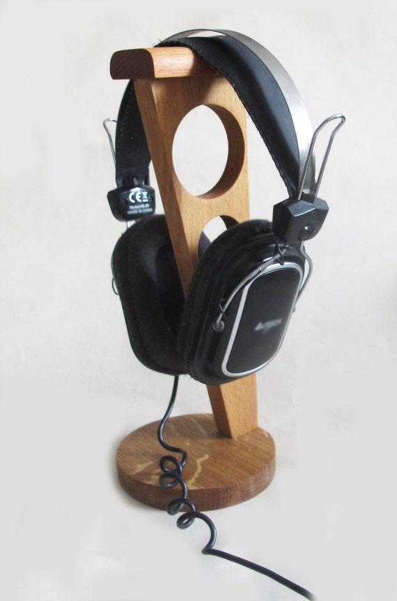 Headphone stand wood headphone holder rustic wooden - Wooden headphone holder ...