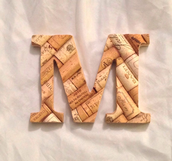 Small wine cork letter rustic monogram wall decor 5 inches for Decoration 5 letters