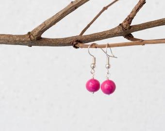 Magenta earrings, Minimalist earrings, Small dangle earrings, Small earrings, Small cute earrings, Small pink earrings