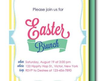 RUSH Easter Invitation, Easter Seersucker Invite or Menu (Personalized Easter Invitation, Seersucker Invitation, Yellow Seersucker)
