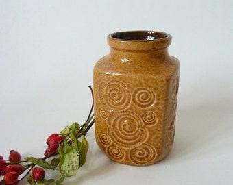 Flower vase, ceramic vase Scheurich, ocker-beige, west german pottery / vintage 1960s