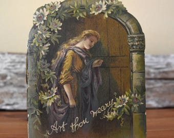 Antique Religious Booklet Art Thou Weary 1900s Catholic Ephemera Hand Stitched Book Victorian Style Christian Poetry Castell Brothers