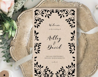 Wedding Program Template, Folded Wedding Program Template, Rustic Wedding Program Printable, Edit Text and Artwork Color in Word