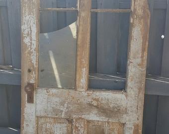 """Vintage Old Wood Door Architectural Salvage, 32"""" x 80"""", Farmhouse Door, Craftsman Door with Window, Recessed Panel, Interior Exterior AB73"""