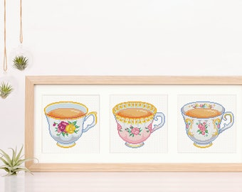British Tea Cup Cross Stitch Chart PDF Download Floral Desk Decor Contemporary Needlework Fancy Tea Cup Present Ceylon Tea Lover Gift DIY