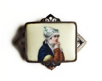 Antique Victorian Era Hand Painted Porcelain Tile Beautiful Woman Portrait ~ Gold Filled  Brooch Pin Circa 1880s