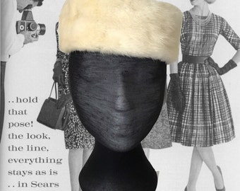 Vintage Ladies Hat 1960's Fur Pillbox Hat Winter White Hat 60's Mid Century Fashion Costume Hat Church Hat Jackie O