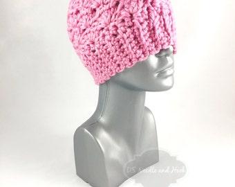 Pink Crochet Hat, Light Pink Crochet Beanie, Soft Pink Winter Hat, Crochet Beanie, Pink Ski Cap
