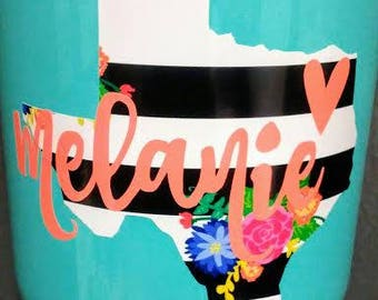 Flower State Decal/Striped State Decal/State Cup Decal/Striped State Cup Decal/Flower State Cup Decal/Yeti Decal/RTIC Decal/Tumbler Decal