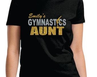 Personalized Glitter Gymnastics Aunt Shirt Custom Gymnastics Aunt Grandma Nana Sister Shirt