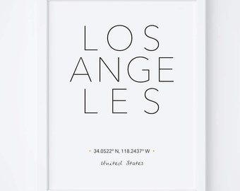 Los Angeles Print - Los Angeles Poster - Los Angeles Printable - City Coordinates - Printable Art - Travel Poster - City Print - City Poster