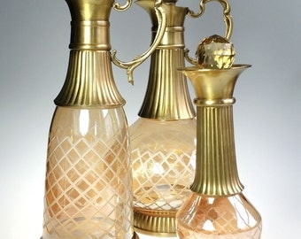 6 Pc Decanter Set Hand Blown Bohemian Amber Iridescent Glass Diamond Cut Crystal