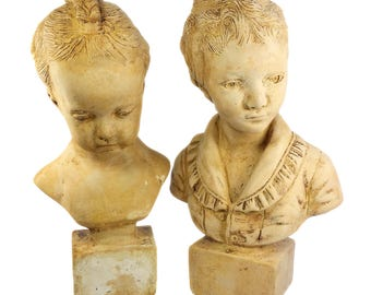 Victorian Children Cast Bust Figure Bust Large Heavy Pair 15 in H Boy Girl