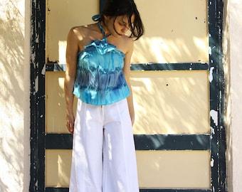 Vintage blue silk halter top.size 36