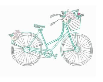 "9""W Large Sketchy Bicycle and Flowers  Embroidery Design - Instant Digital Download"