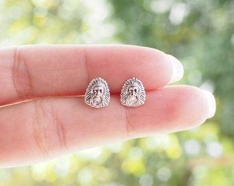 A pair of Native American Stud Earrings 925 Sterling Silver, Boho earrings, Indian Warrior, southwest style - SB81