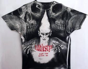 Wizard Warlock shirt 1990s vintage t shirt skull tshirt 90s clothing skull merlin all over print shirt doom metal goth punk horror large