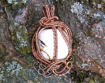 Mookaite jasper, Wire wrapped pendant, Handmade item, Mookaite pendant, Cooper wire pendant, Natural stone