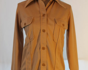 Ladies Vintage Button Down Shirt - Brown Gingham Pattern - Vintage Shirt - Retro Shirt- Free Shipping within Canada and the USA